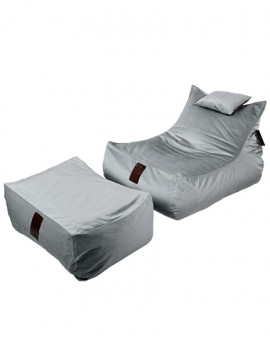 Sedací vak SET Lounge XXL Luxury Silver | Wegett